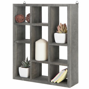 MyGift 9 Slot Freestanding or Wall Mountable Vintage Gray Wood Shadow Box Shelf