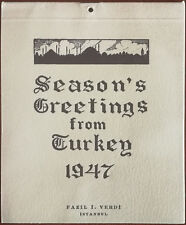 Seasons Greetings From Turkey, Fazil I. Verdi Istanbul 1947 Illustrated Calendar