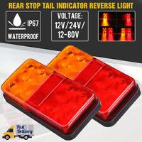 2x 12V 10 LED Rear Brake Stop Indicator Light Tail Lamp Trailer Truck Lorry Van