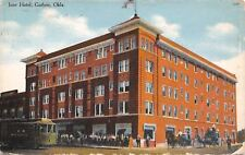 Guthrie Oklahoma~Ione Hotel~Crowd Out Front~Close Up Trolley~Stage Coach~1909 PC