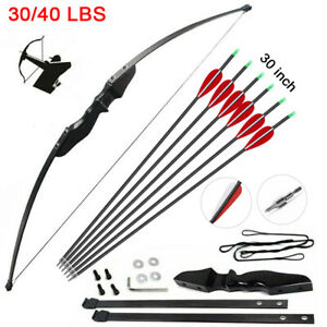 30-40lbs Archery Recurve Bow Hunting Target Longbow Shooting Training Practice