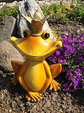 XL Froschkönig 29cm Frosch orange / gelb / gold, wetterfest Garten Deko Figur