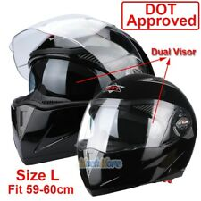 DOT Carbon Fiber Modular Flip Up Dual Visor Full Face Motorcycle Helmet Size L