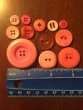 Lot Of 12 Assorted Pink Resin Buttons. #3