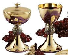 Gold Tone Loaves and Fish Chalice and Paten with Ciborium and Cover Set, 8 Inch