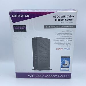 NETGEAR N300 (8x4) WiFi Cable Modem Router Combo Model C3000, DOCSIS 3.0