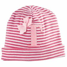 """NEW Mud Pie BABY GIRL HAT Personalized Initial """"T"""" Pink Striped Cotton"""