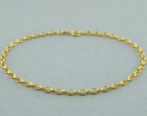"""9ct Yellow Gold Oval Diamond-Cut Belcher / Rolo Chain Bracelet 19cm / 7.5"""" - 2mm"""