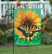 New Toland - Welcome Summer - Colorful Sunflower Butterfly Spring Garden Flag