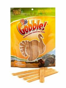 Gobble! Turkey Tendon Strips for Dogs, Made in USA (6 Ounce Reseal Value Bag)