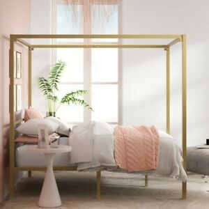 """Zinus Patricia 72"""" Gold Metal Canopy Platform Bed Frame, Twin"""