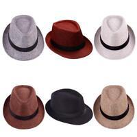 Men Women Summer Beach Trilby Fedora Straw Panama Sun Cap Sun Jazz Hat