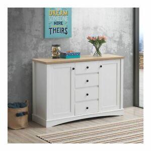 White and Oak Carden Sideboard 2 Door 4 Drawer Storage Cabinet    BTAD