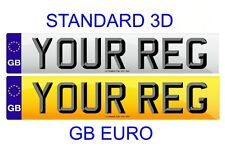 Pair Standard Number Plates GB Euro STANDARD 3D LETTERS 100% Legal - FREE POST