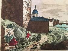 FLORENCE Vue d'optique Perspective 18 ème Gravure colorée d'époque XVIII View