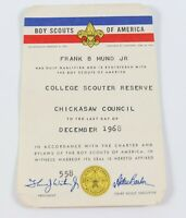 Vintage Chickasaw 1968 College Scouter Reserve Membership Card Boy Scouts BSA