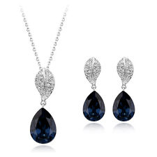 18K WHITE G/PLATED & GENUINE CZ & AUSTRIAN CRYSTAL BLUE NECKLACE & EARRING SET
