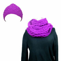 Warm Wooly Winter Handmade Purple Pink Hat Snood Scarf 2 Pieces Set Womens Gift