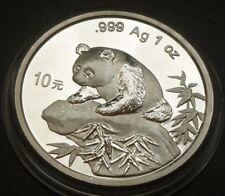China 1oz Bu Plata Fina .999 10 Yuan Panda 1999 Panda fecha grande en el Rock