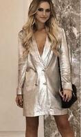 ZARA Metallic Gold Silver Blazer Dress Medium