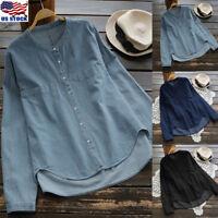 Women Long Sleeve Demin Jeans Blouse Shirt Autumn Casual Button Tunic Tops S-5XL
