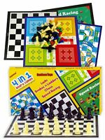 4 in 1 Board Games for Kids - Ludo, Snake and Ladder, Chess and Racing