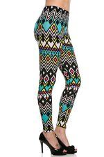 Neon Aztec Print  fleece lined Legging Size M/L