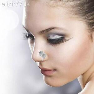 FAB GOLD SILVER FAKE NON PIERCING SWIRLY CLIP ON NOSE RING EAR CUFF FANCY DRESS