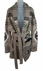 Women's Autumn Cashmere Taupe Aztec Italian Yarn Knit Belted Cardigan Sweater L