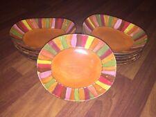 "11 Pier 1 Wavy Stripe Salad Bowls Hand-Painted Stoneware 9 1/4"" X 8"""