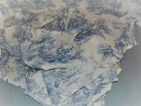 Waverly French Country Wellington Blue Cream Toile Sheer Drape Panel Pair