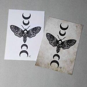 Tattoo Moth Print Wall Art Gift Gothic Home Decor Occult Mystical Moon Goth