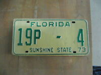 1973 73 FLORIDA FL LICENSE PLATE # 19P-4 BREVARD COUNTY LOW NUMBER