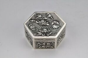 Signed Chinese Export Silver Covered Box with Relief Flowers 19th Century