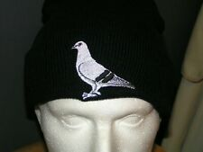 More details for wooly roll up beanie hat with embroidered pigeon design