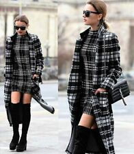 ZARA BLACK/GREY/WHITE WINTER CHECKED TARTAN WOOL MIX COAT WITH POCKETS Sz SMALL