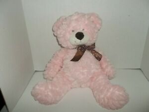 """ganz pink sprinkles teddy bear plush with brown bow 14"""" tall 30188"""