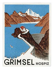 Hôtel Grimsel l'hospice switzerland suisse luggage label valise autocollant #0011