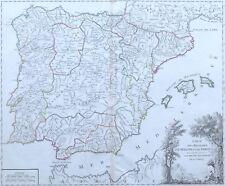 Antica mappa Spagna Catalogna Andalusia Baleari Portogallo De Vaugondy 1757