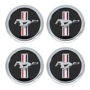 2005-2009 Ford Mustang Chrome & Black Pony Wheel Center Caps Set of 4 OEM NEW