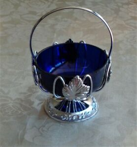 Vintage Mayell England Chrome Plate Cradle w Handle, Cobalt Blue Glass Jam Dish
