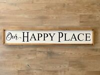 Our Happy Place Wood Sign | Farmhouse Style Decor | Handpainted | Family