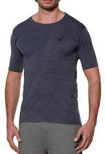 Asics Seamless Short Sleeve Mens Breathable Running Training Gym Top - Grey