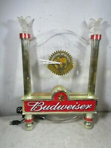 Vintage 2001 Budweiser Beer Lighted Wall Clock Advertising Sign Ornate Display