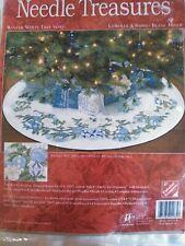 RARE Winter White Tree Skirt counted cross stitch kit Needle Treasures Sealed