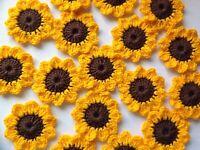8xNew Lovely Crochet Summer Flowers Applique Embellishment-Sunflowers