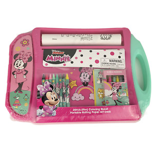 Disney Minnie Mouse Pink Portable Rolling Paper Art Desk Coloring Sheet