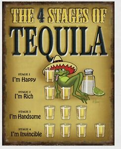 Tequila 4 Stages Metal tin sign home garage Bar Shop Drinking Wall decor #2412