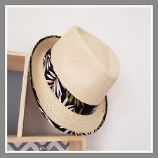Avant 12€90 Borsalino chapeau vacances effet paille tissu fleuri noir fleur