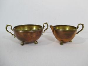 Creamer Sugar Bowl Manning Bowman Copper Brass Pitcher Vintage Ball Feet 2 pcs